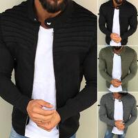 Men Slim Fit Sport Hoodies Sweatshirt Zipper Coat Jacket Pleated Outwear Sweater