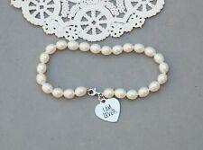 """I Am Loved Heart Charm  Genuine Pearl Bracelet Sterling Silver Helzberg 8"""" White"""