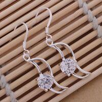Creolen Ohrringe Creole Ohrringe Silber plattiert Zirkonia modern Damen 925