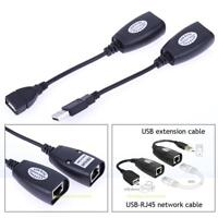 Black USB 2.0 Male Female to CAT5 CAT6 RJ45 Lan Extender Extension Cable Adapter