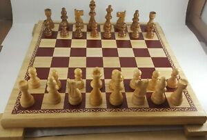 WOODEN CHESS SET WOODFIELD CHESS & CHECKERS WOODEN BOARD GAME AND PIECES