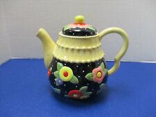 "Mary Engelbreit 2004 Tea Blossoms Teapot Yellow Black Floral 8"" Tall"