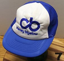 9a9a18e4b65ad VINTAGE CHENEY BIGELOW TRUCKERS HAT BLUE   WHITE SNAPBACK MESH BACK GOOD  COND