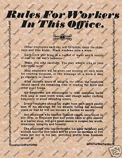 RULES FOR WORKERS IN THIS OFFICE OLD WILD WEST POSTER DESK WORK DECOR 113