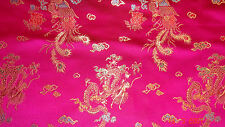 Cerise Dragon Chinese Satin Fabric 90cm. Pay only one low COMBINED postage.