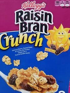 ((LOW STOCK)) RAISIN BRAN CRUNCH CEREAL (TWO SEALED BAGS, 43.3 oz BOX) KELLOGG'S