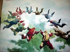Original W/C by Keith Schmidt - 'Freefall' - 22 x 30  Great Parachuting Painting