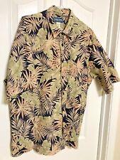 VTG Cooke Street XL Cotton Island Print SS Greenleaf Aloha Hawaiian Shirt 50x30