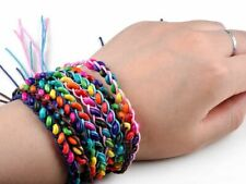 Bracelets Friendship Braid & Beads Handmade Cords Rainbow Bangles Jewellery