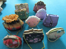 Miniature 10 Ceramic Collectible Hand Bags 3-4""