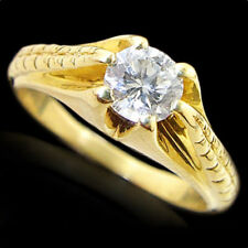 Round Diamond Solitaire Engraved Engagement Ring 18K Yellow Gold 1/2 Carat