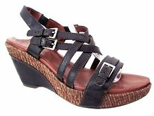 NAYA  Women's BlackLeather MAIZE Strappy Slingback Wedge Heels Size 11 M