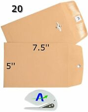 Rilney 20 Pack Clasp Envelopes, 5 in. x 7.5 in, Gummed with Clasp, Includes B.