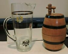 Pint Glass  With 3 Clan Crests w Gold fill line and decorative wooden Ale Cask