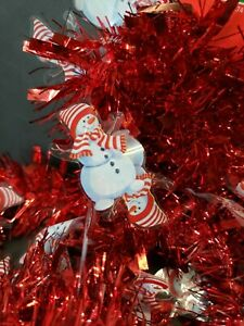 9 FT Tinsel Garland Christmas Holiday Decoration Red Snow Man