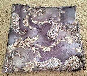 Pale purple khaki paisley print 12 inch pocket square