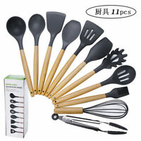11 Pcs Silicone Cooking Utensils with Wood Handles Nonstick Cookware