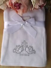 Baby Girl Boy Silver Embroidery Christening White Fleece Blanket Wrap 100x75cm