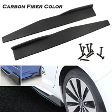 2 X Carbon Fiber Color Car Side Anti-scratch Skirt Spoiler Rocker Splitters Kits