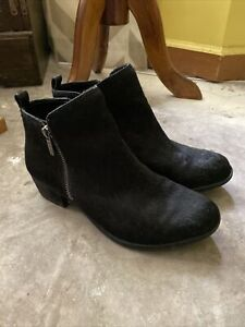 Womens 8 M 38 Lucky Brand Basel Black Calf Hair Leather Booties Ankle Boots