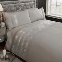 CARLY DIAMANTE GREY SILVER DOUBLE DUVET COVER SET EMBELLISHED BEDDING