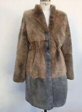 'S MAX MARA grigio e nocciola pelliccia Taglia I 42 US 8 UK 10