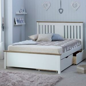 Wooden Storage Bed, Chester White and Oak 2 Drawer 2 Size and 4 Mattress Options