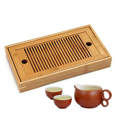 Tasteful Bamboo Chinese Gongfu Tea Table Serving Tray For Home Garden Portable