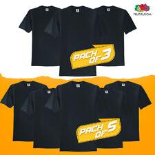 Black Pack 5 Or 3 Mens Fruit Of The Loom Plain Tshirt T Shirt Cotton Blank Bulk