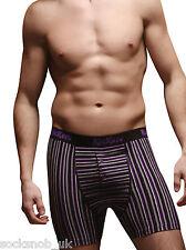 """2 pares Pack Para Hombre Kickers Stripe Purple Boxers (medio 33-35 """"en la cintura)"""