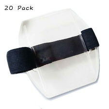20 pack Specialist Photo Vertical ID Armband Badge Holders with Black Elastic