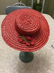 Vintage Doll Dress Ideal Alexander Mattel Bisque French German Hat Red