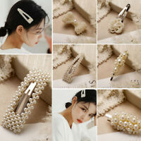 Pearl Hair Clip for Women Elegant Korean Snap Barrette Stick Hair Styling Access