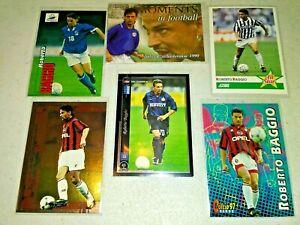 1991-2004 Roberto Baggio Collection - Scores, Panini, Futera etc, 6 Cards.