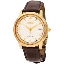 Seiko JAPAN Made Pre- Presage Silver Dial Gold Plated Men's Brown Leather Watch