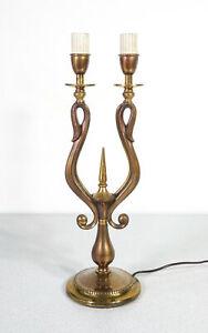 ⚜️ LAMPADA DESIGN ITALIANO 1930S ART DECO OTTONE ABAT JOUR VINTAGE CANDELABRO