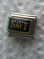 """""""GOLD NAVY ON BLUE""""9MM ITALIAN CHARM-TROOPS,  ENLISTED, FIGHT, SERVE, PROTECT"""