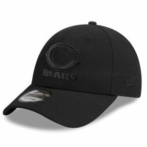 Chicago Bears New Era NFL Black On Black 9FORTY Curve Snapback Hat