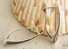 Elegant asymmetrisch Klappcreolen Silber 3 cm Creole Hochglanz schlicht