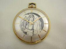 Alte offene Taschenuhr vergoldet mit schönen Zifferblatt Frau mit Katze