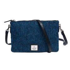 Maccessori Harris Tweed Blue Zip Purse Shoulder / Clutch Bag New w/ Tags