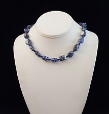 Necklace Sodalite Nuggets Lapis Lazuli 925 Silver Adjustable Handcrafted USA