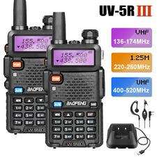2x BAOFENG UV-5R III UHF/VHF Walkie Talkies Tri-Band FM Two Way Radio Long Range