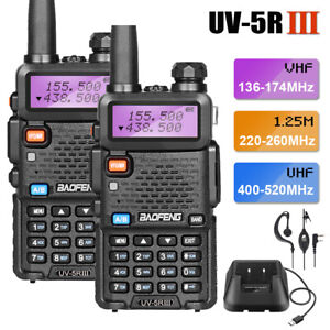 2x BAOFENG UV-5R III UHF/VHF Walkie Talkies Tri-Band FM Two Way Radio Long Range