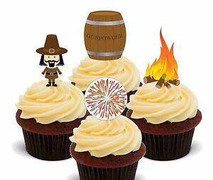Bonfire Night - Edible Cupcake Toppers, Fairy Cake Bun Decorations Fireworks