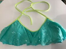 VICTORIAS SECRET Sequinned Flounce Bikini Top - Size Small
