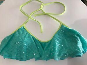 VICTORIAS SECRET Sequinned Flounce Bikini Top - Size Small