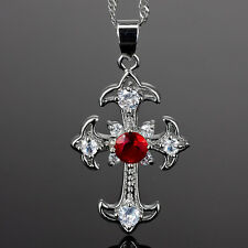 Ruby White Gold Gp Pendant Free Necklace Xmas Fashion Jewelry Gift Cross Cut Red