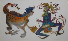 OLIVER GRIMLEY-PAFA Modernist-Original Signed Mixed Media-Surreal Circus Figures