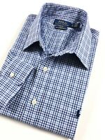 POLO Ralph Lauren Shirt Men's Blue Tattersall Check Slim Fit Cotton Stretch